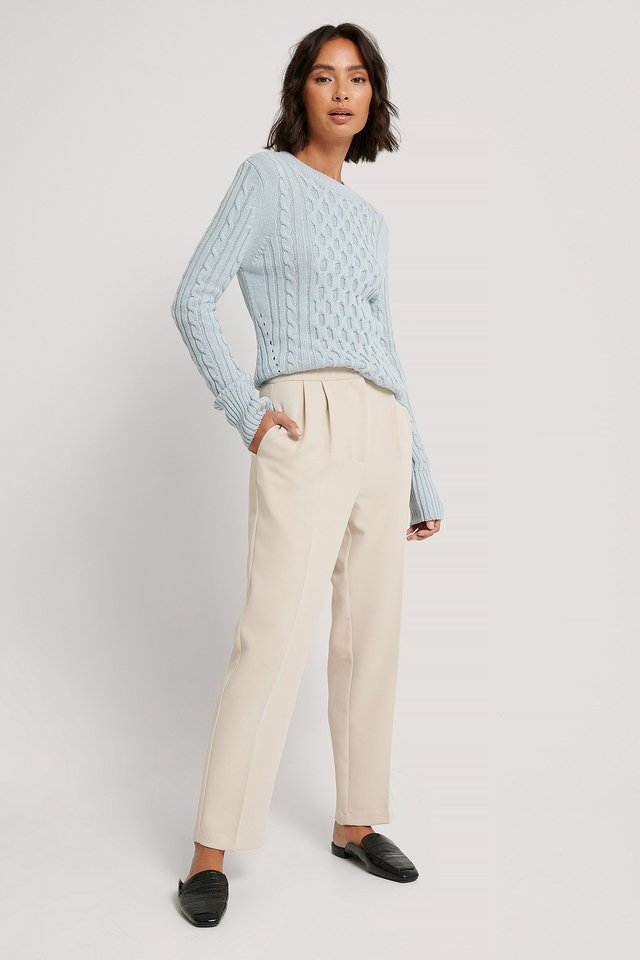 Cable Knit Round Neck Sweater Light Blue