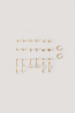 Gold Pack De 10 Pendientes Y Ear Cuff