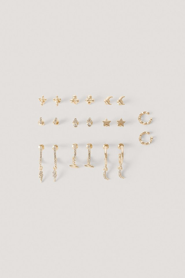 10-Pack Studs And Cuff Set Gold
