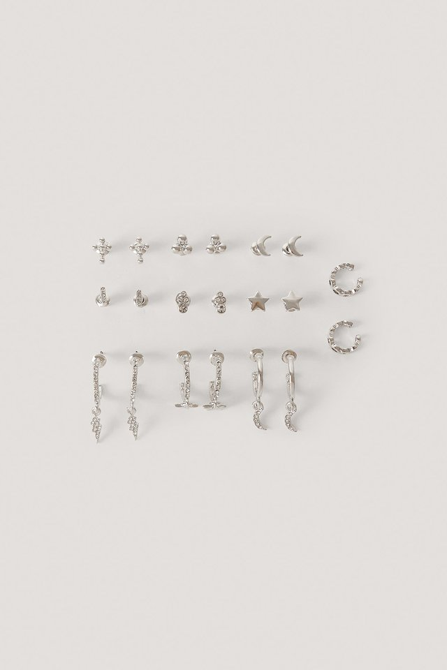 10-Pack Studs And Cuff Set Silver