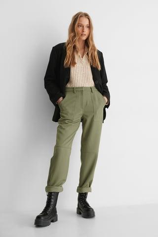 Khaki Twill Pocket Pants