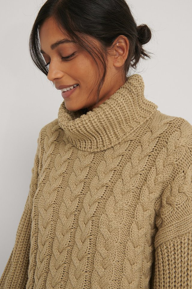 Beige High Neck Cable Long Knitted Sweater
