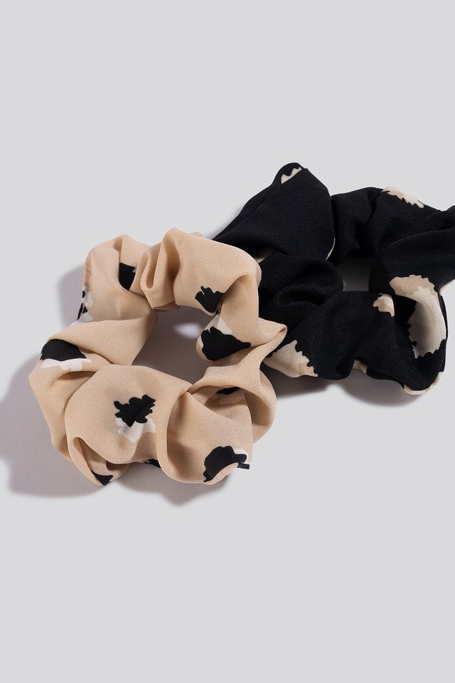 2-Pack Abstract Dots Scrunchies Nude/Black