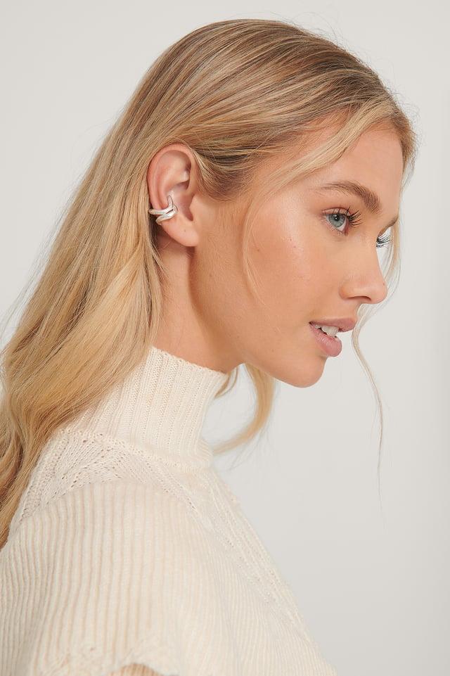 Silver Dobbeltpakke Med Skinnende Ear-Cuffs