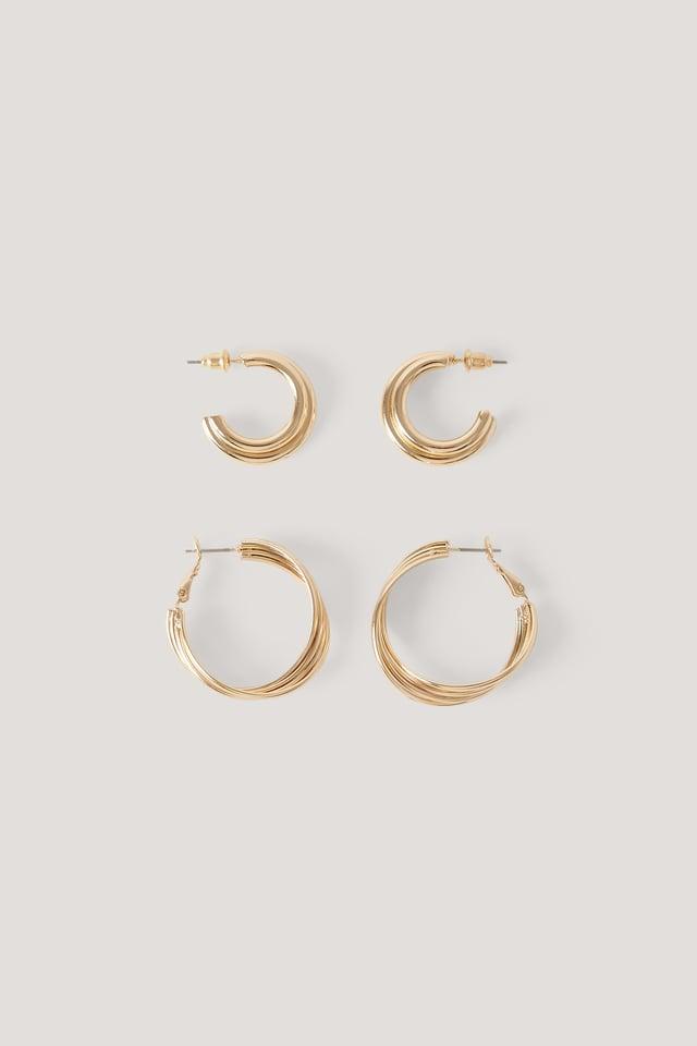 2-Pack Entangled Hoop Earrings NA-KD Accessories