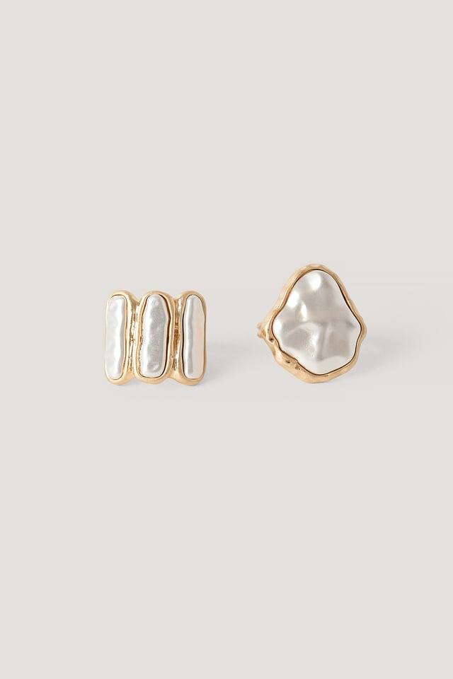 Gold 2Er-Pack Gehämmerte Perlendetail-Ringe