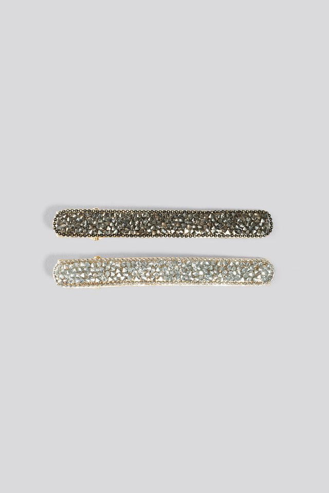 2-pack Multi Strass Hairclips Gold/Grey