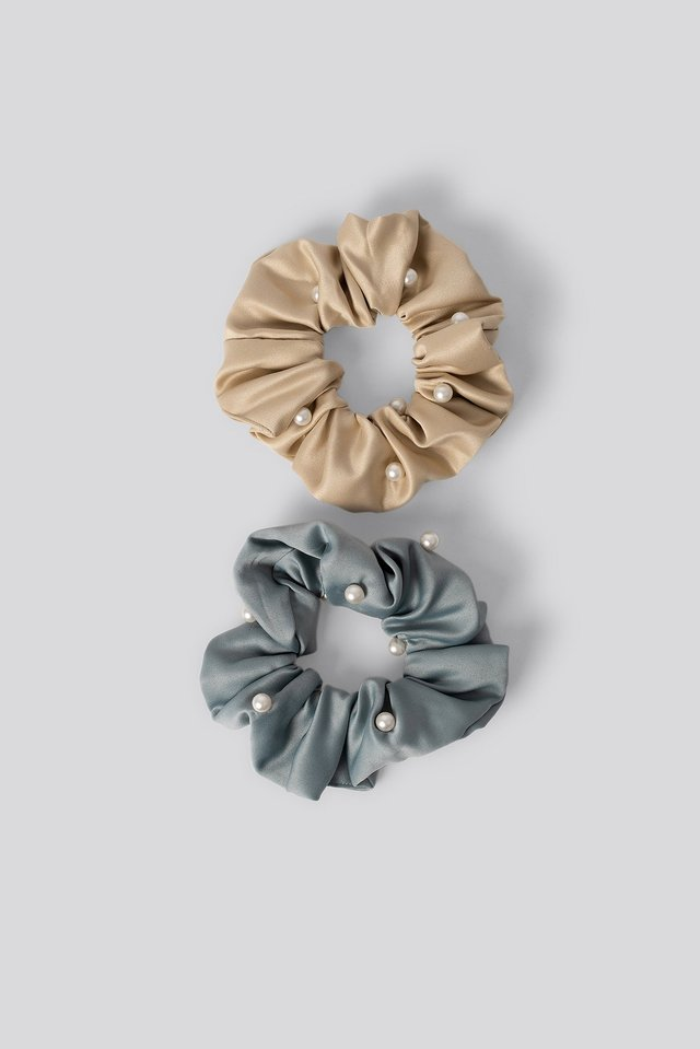 2-pack Pearl Detailed Scrunchies Mixed