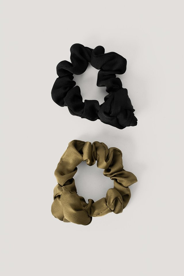 Black/Khaki 2-Pack Shiny Rose Scrunchies