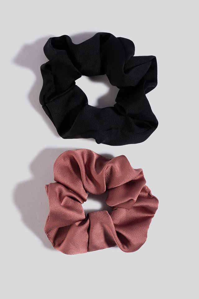 2-Pack Shiny Scrunchies Black/Red