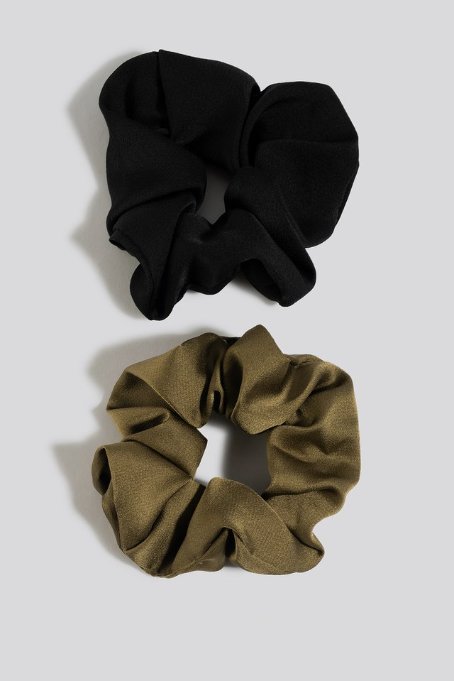 2-Pack Shiny Scrunchies Black/Khaki