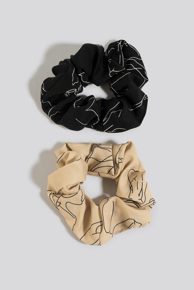 2-Pack Slim Floral Line Scrunchies Nude/Black