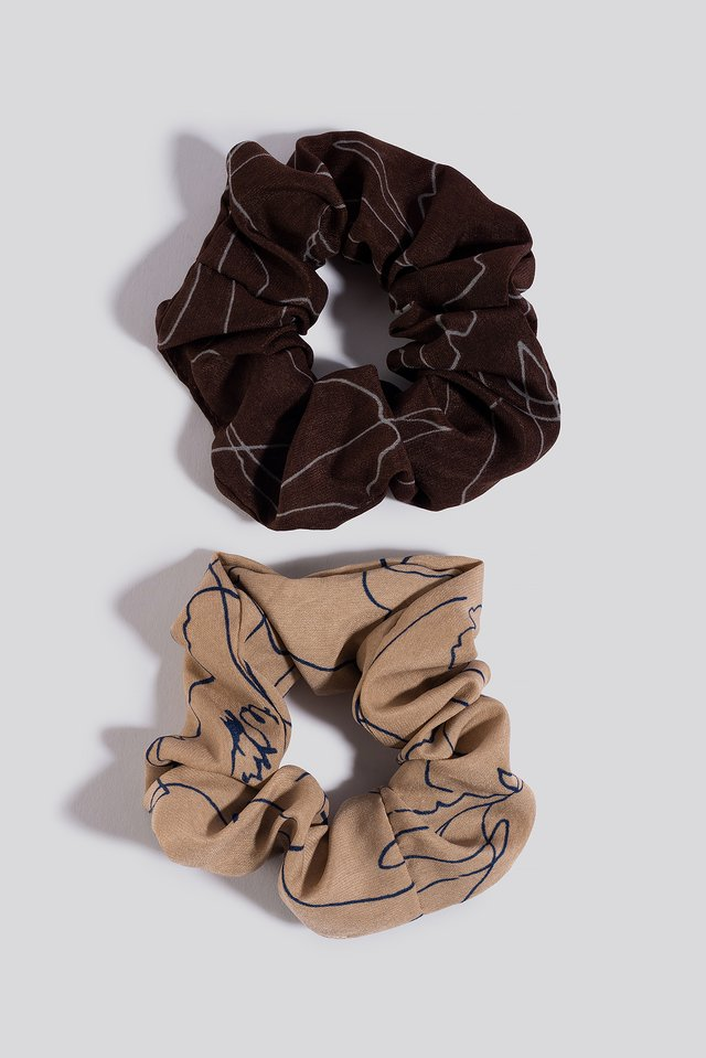 2-Pack Slim Floral Line Scrunchies Nude/Berry