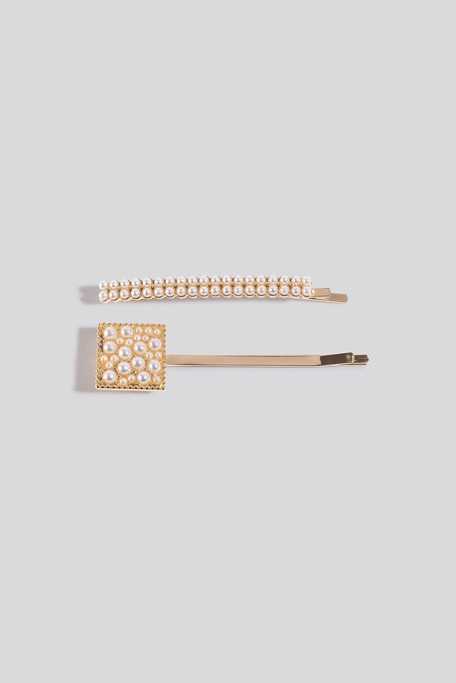 Gold 2-pack Square Pearl Hairclips
