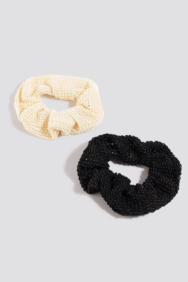2-Pack Structured Scrunchies Black/Beige
