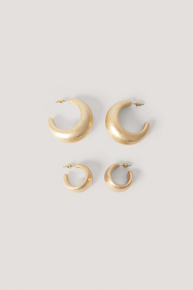 2-Pack Super Chubby Earrings Gold