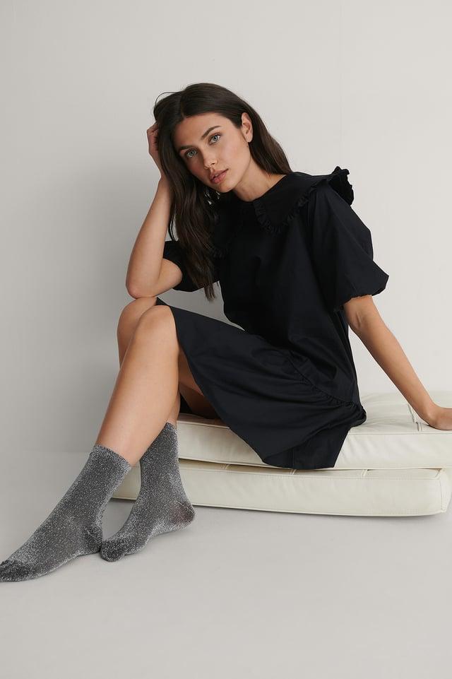 Black/Silver 2-pack Glitter Socks