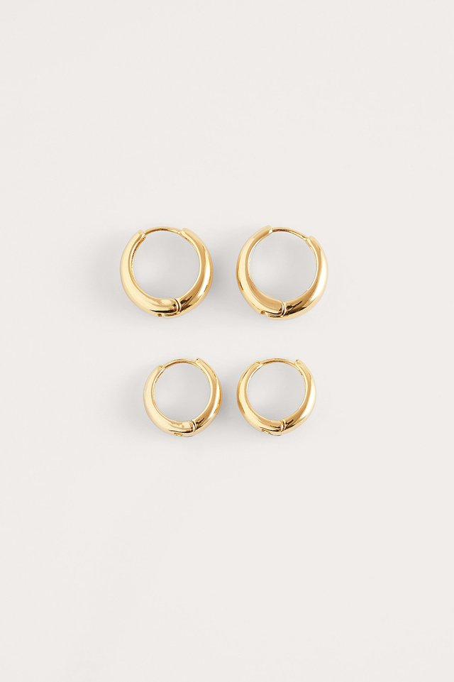 Gold 2-Pack Gold Plated Basic Chubby Hoops