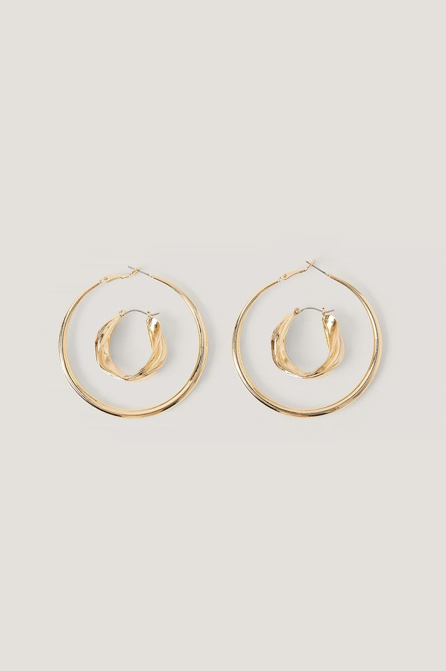 2-Pack Mismatching Hoops Gold