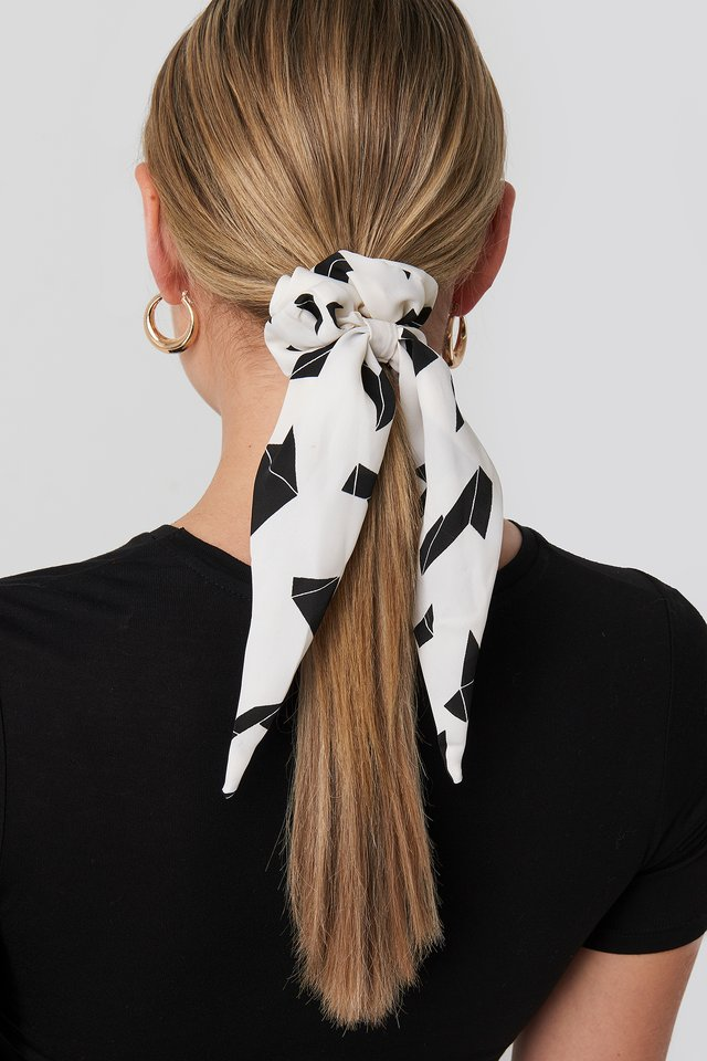2-Pack Graphic Print Bow Scrunchies Black/White