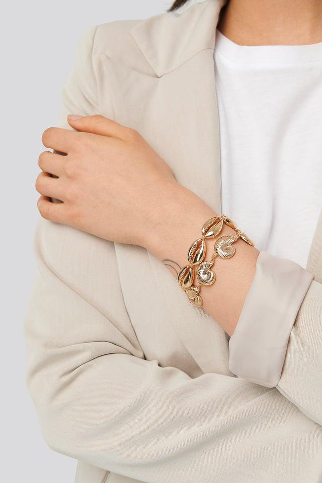 2-pack Shell Bracelet Gold