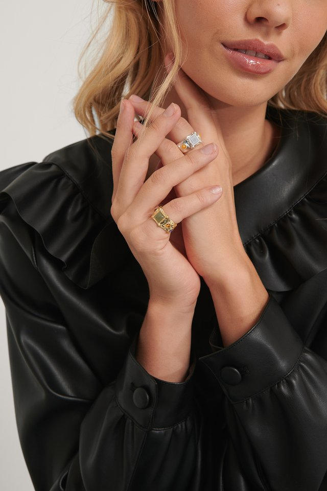 Silver/Gold 2-Pack Vintage Look Stone Rings