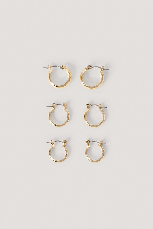 3-Pack Chubby Basic Hoops Gold