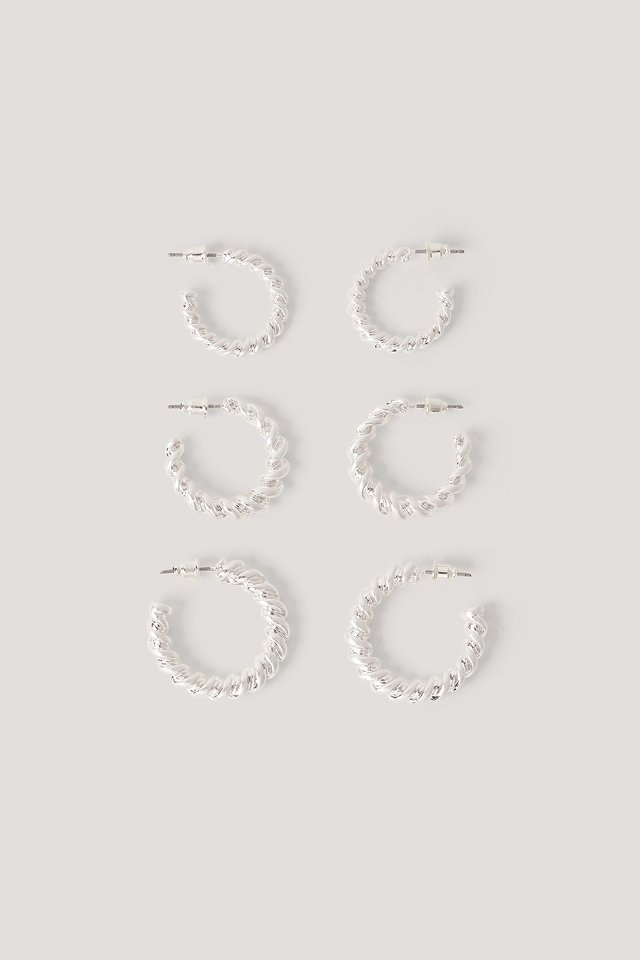 3-Pack Chubby Twisted Hoops Silver