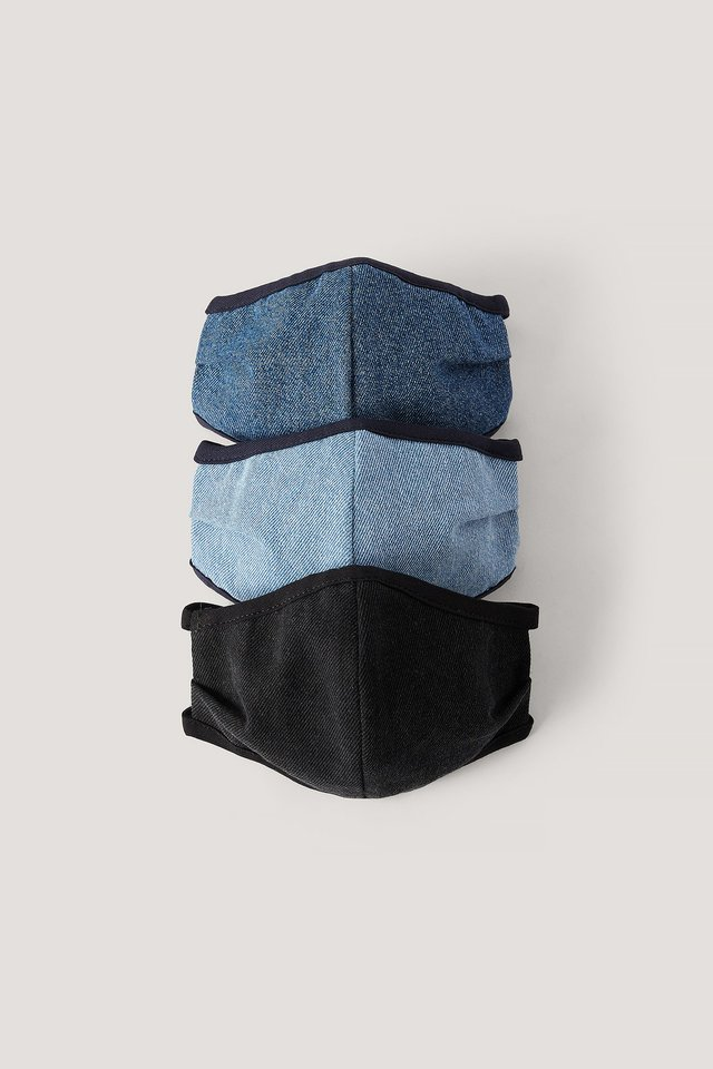 Blue Combo 3-Pack Denim Face Masks