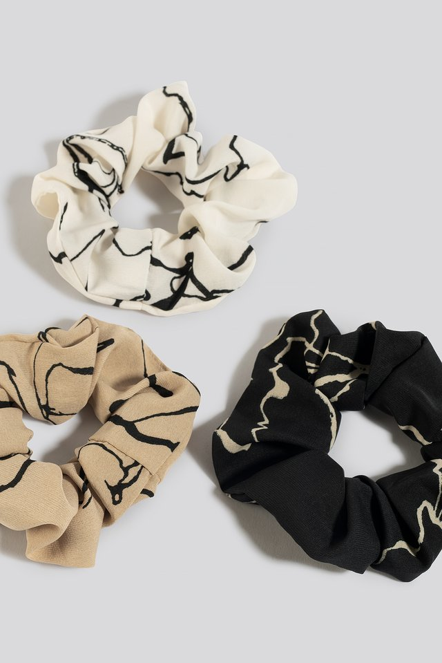 3-Pack Floral Ink Print Scrunchies Mixed