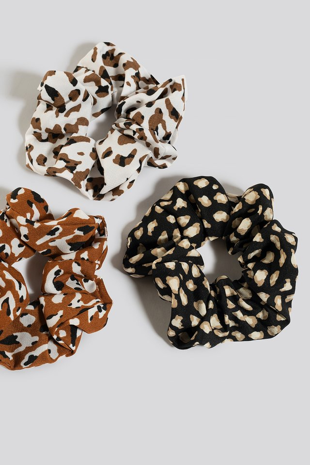 3-Pack Leo Print Scrunchies Mixed