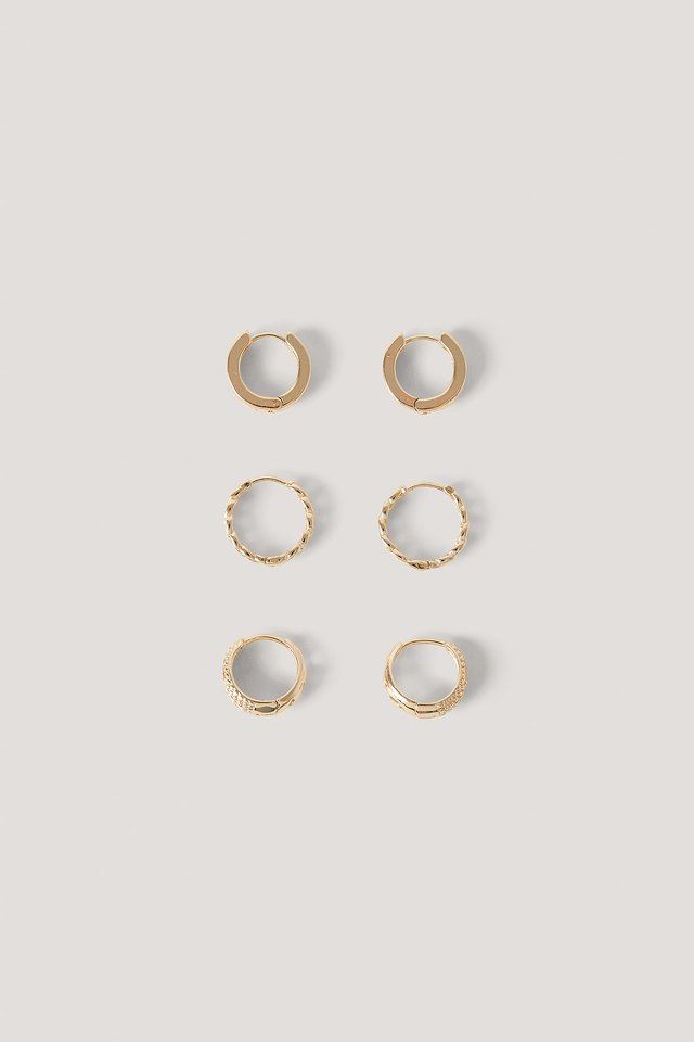 3-Pack Mini Patterned Hoops Gold