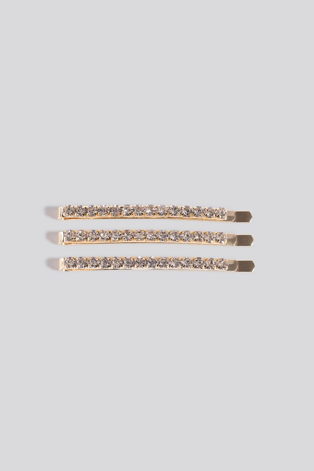 3-pack Slim Strass Hairclips Gold