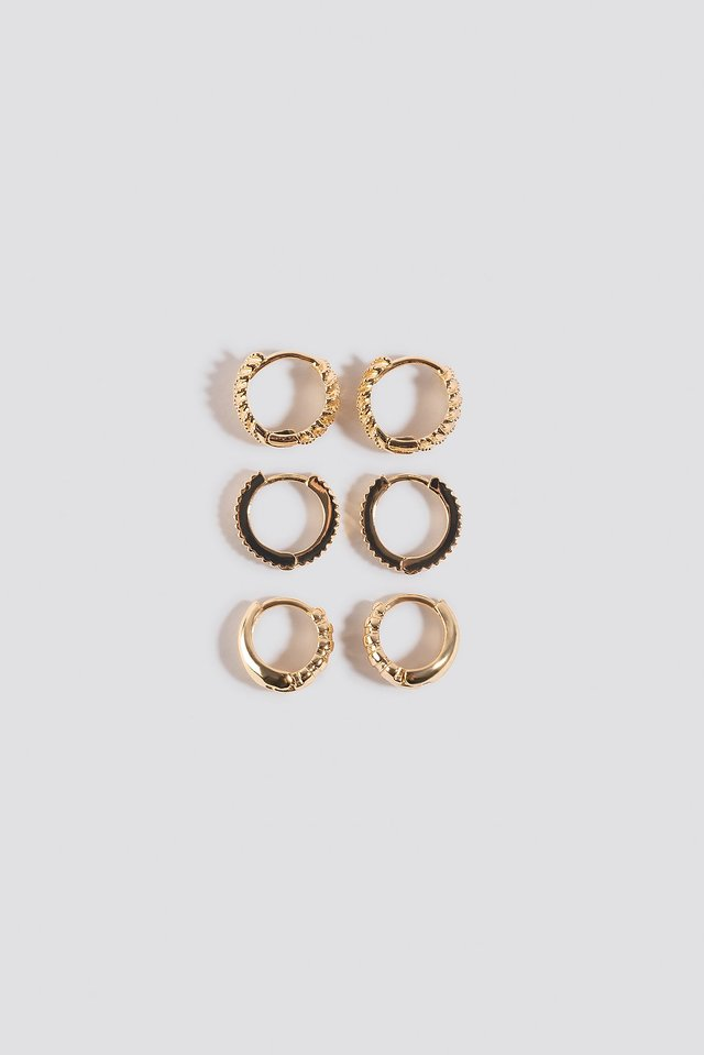 Gold 3-Pack Structured Tiny Hoops