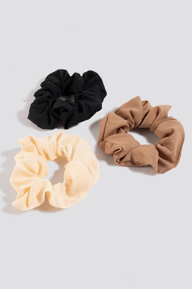 3-Pack Woven Scrunchies Mixed