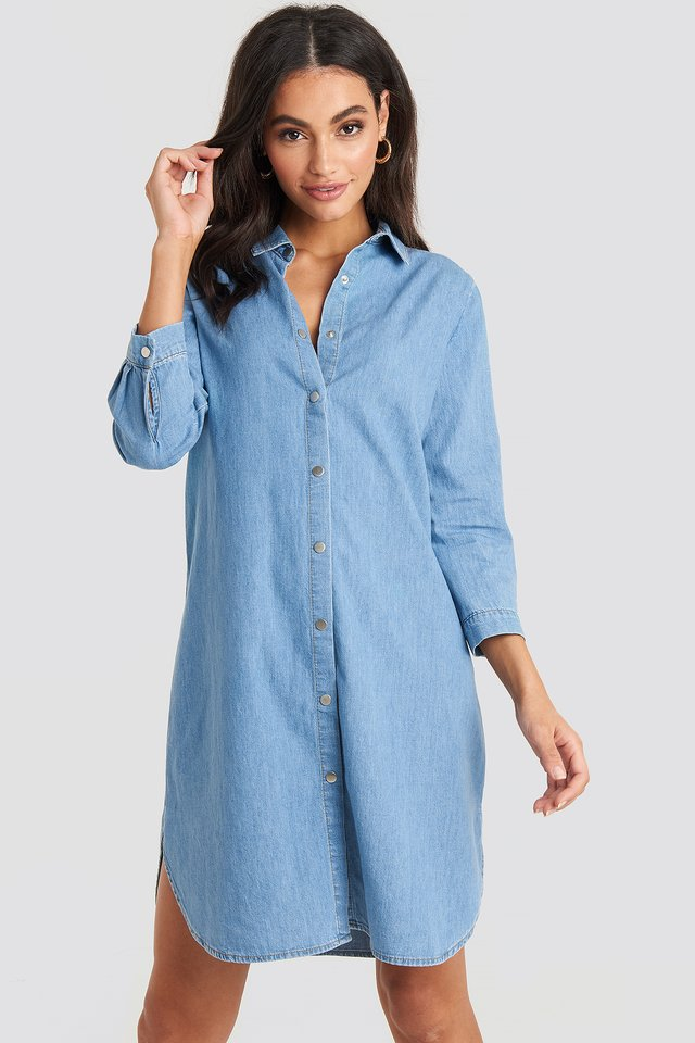 3/4 Length Sleeve Denim Shirt Dress Light Blue