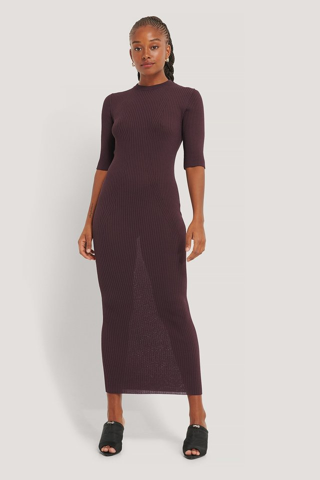 3/4 Sleeve Ribbed Knitted Dress Plum