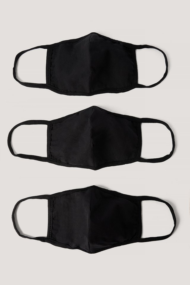 3-Pack Basic Face Masks Black