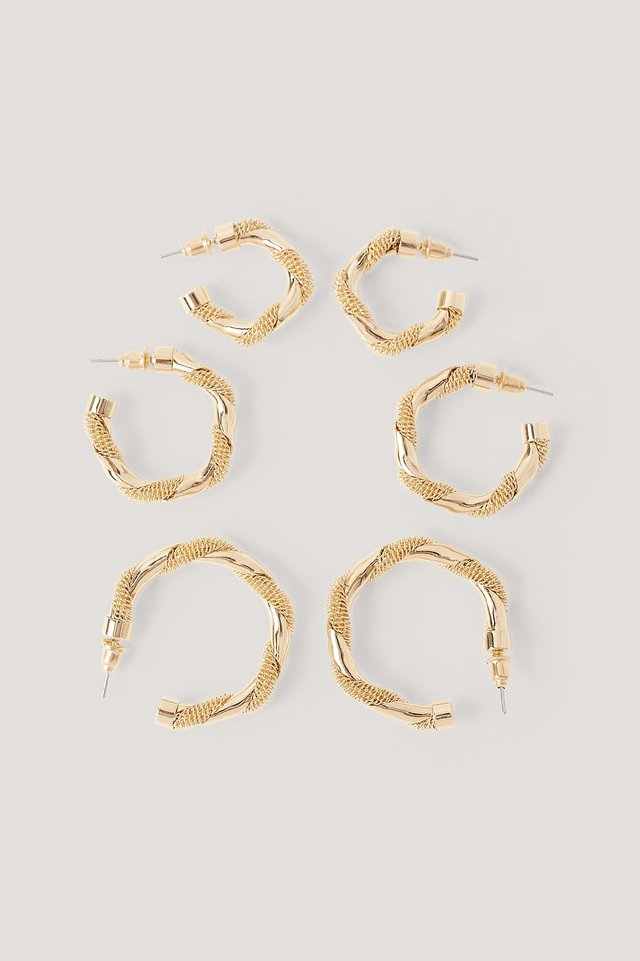 Pack De 3 Pendientes Gold