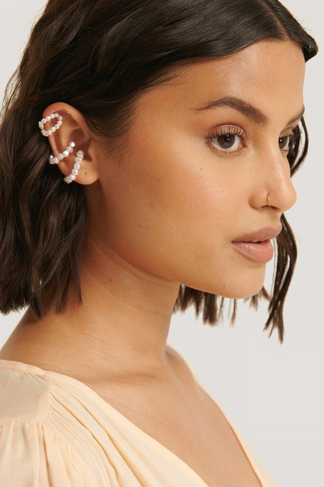 3-Pack Pearl Ear Cuffs White