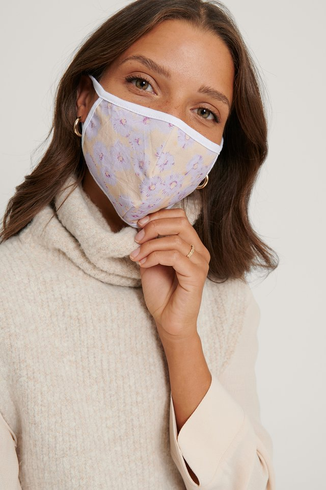 3-Pack Printed Face Masks White/Purple