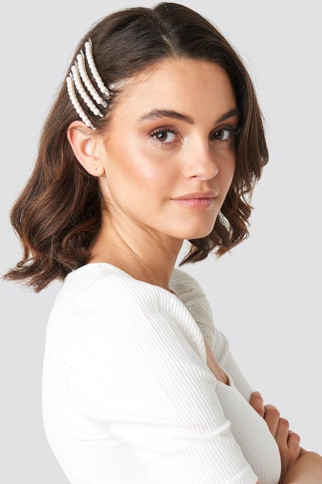 4-Pack Slim Pearl Hairpins White