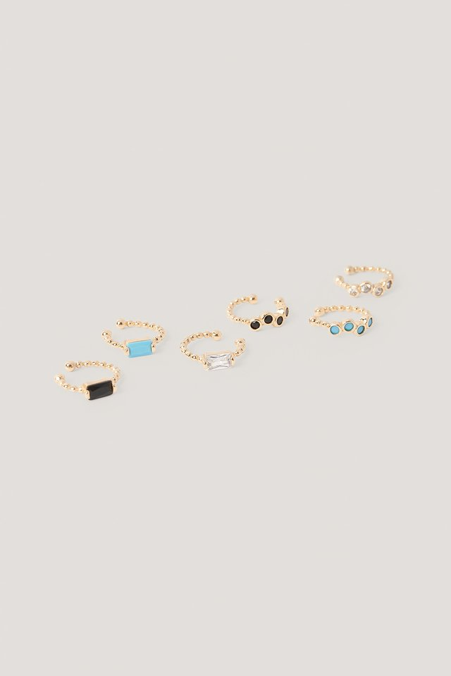 6-Pack Colored Ear Cuffs Gold