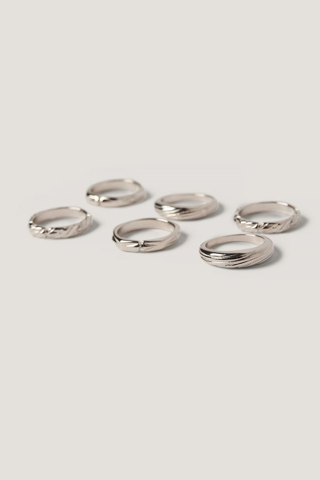 6-pack Mixed Pattern Rings Silver