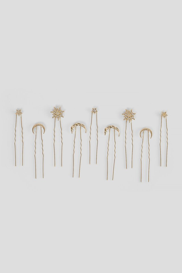 Gold 9-Pack Moon and Star Hair Pins