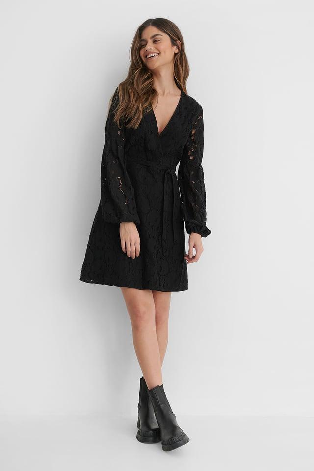 Black Waist Belt Lace Dress