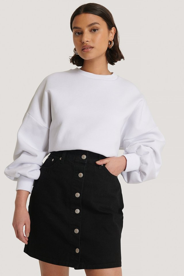 Black A-line Buttoned Denim Skirt