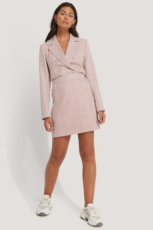 Pink/White A-line Houndtooth Mini Skirt