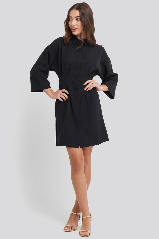 A-Line Shirt Dress Black