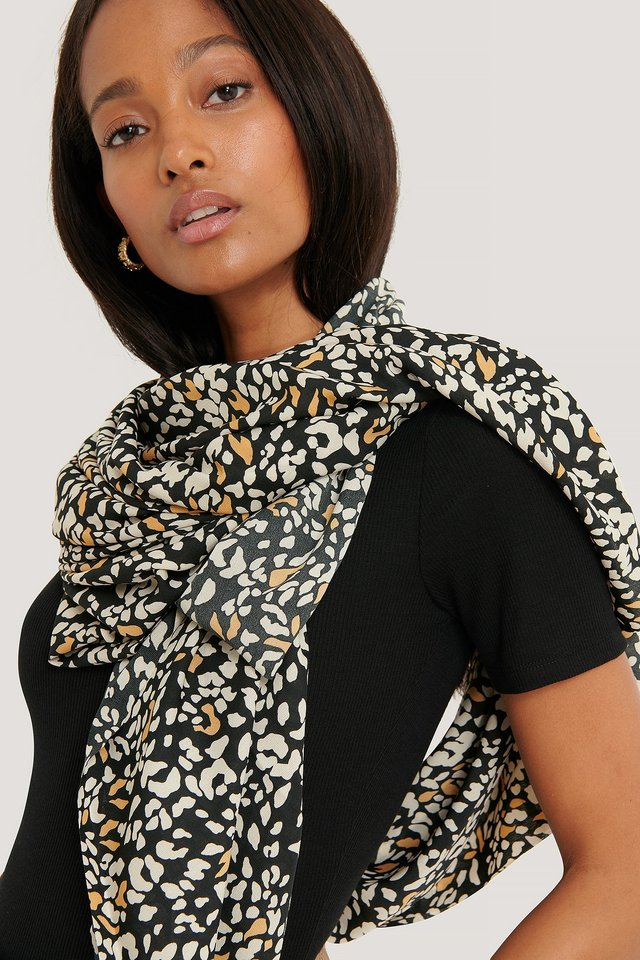 Black Abstract Leopard Scarf